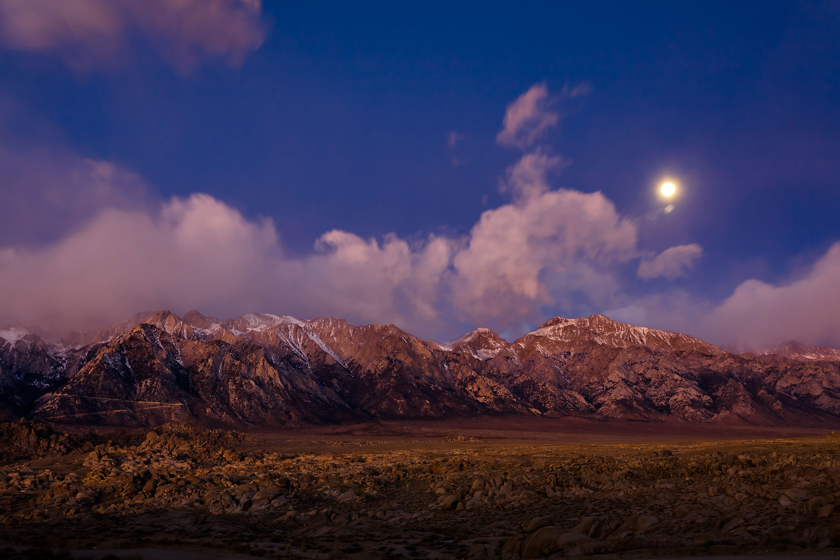 Alabama Hills Purple Moonset