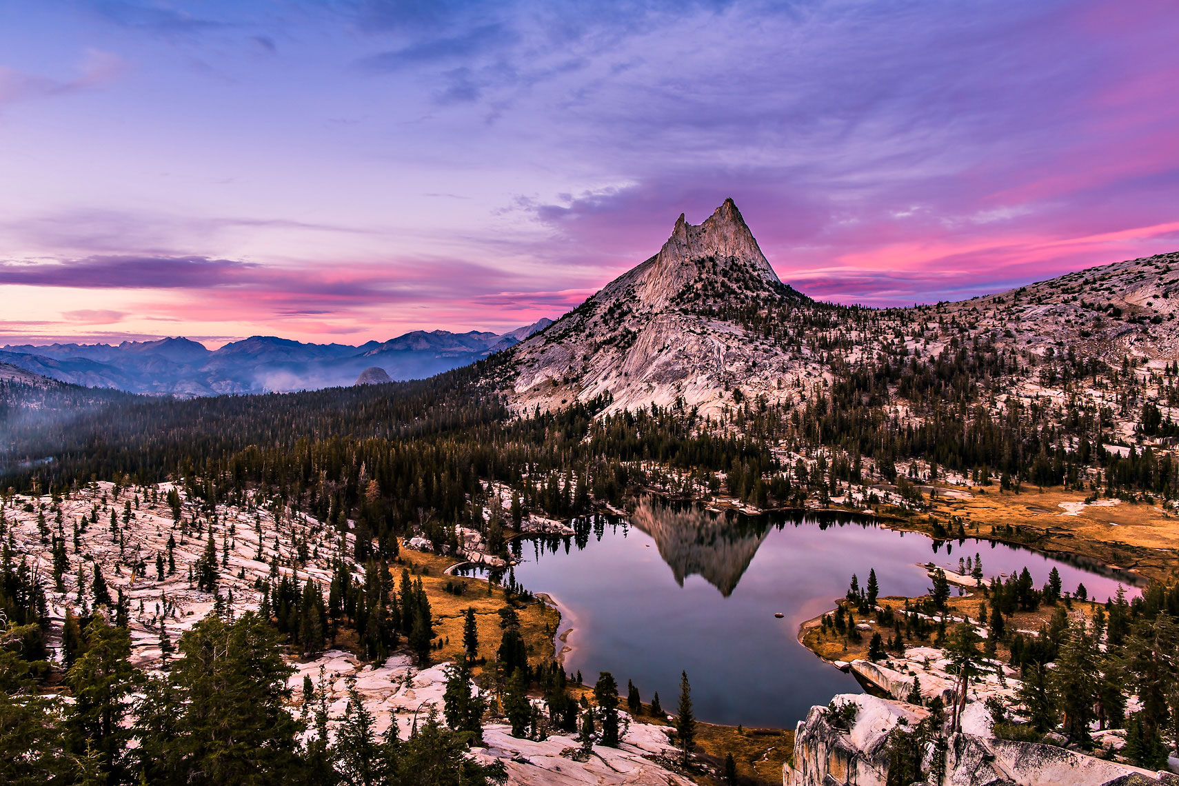 Cathedral Lake Peak Sunset Pink