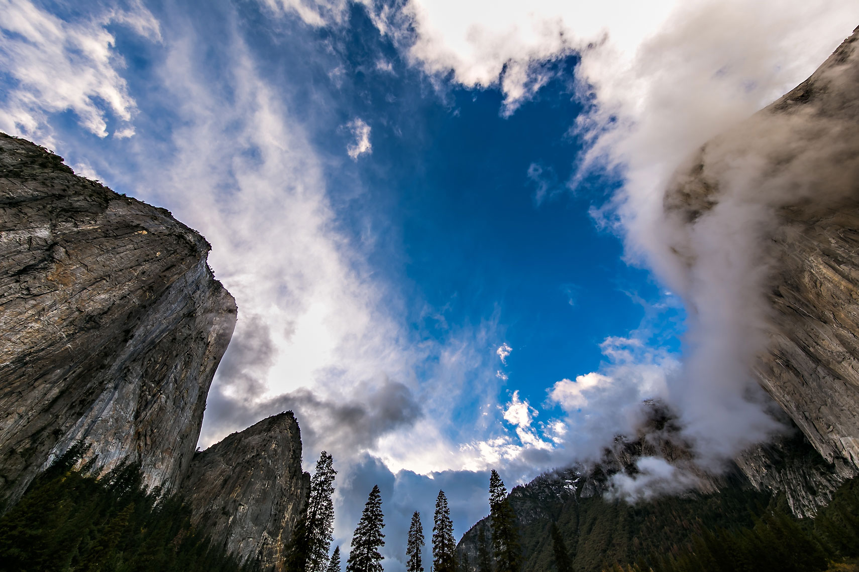 El Cap Middle Cathedral Clouds