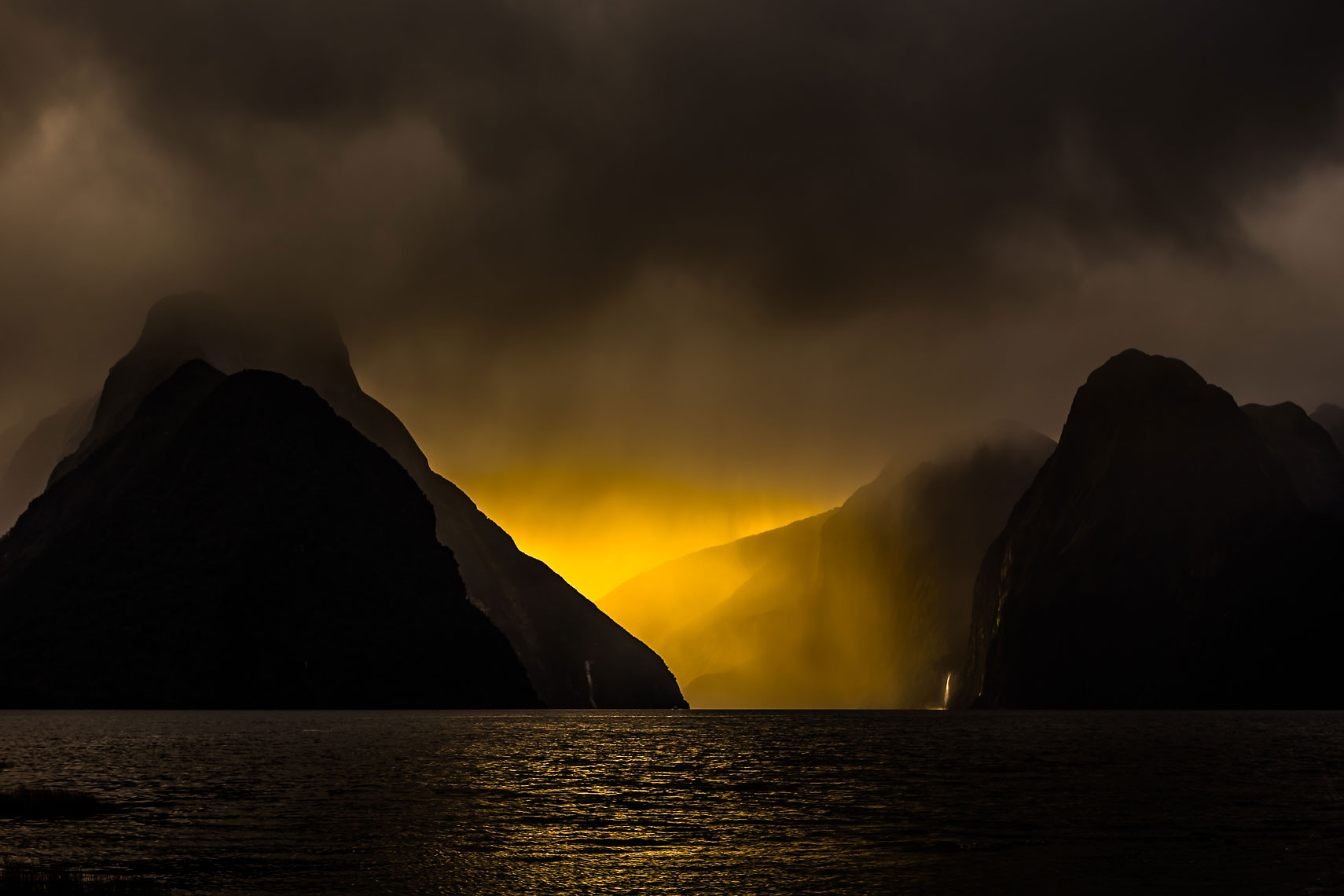 NZ Milford Sound Storm Light