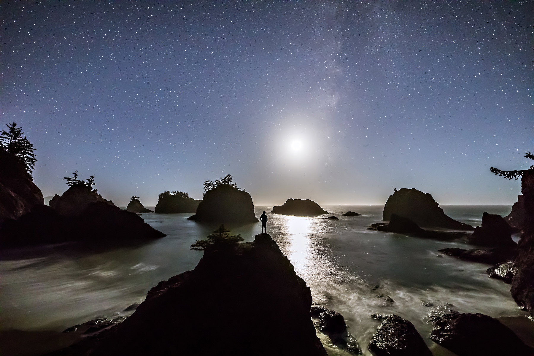 Moon Man under the Milky Way on the Oregon coast.