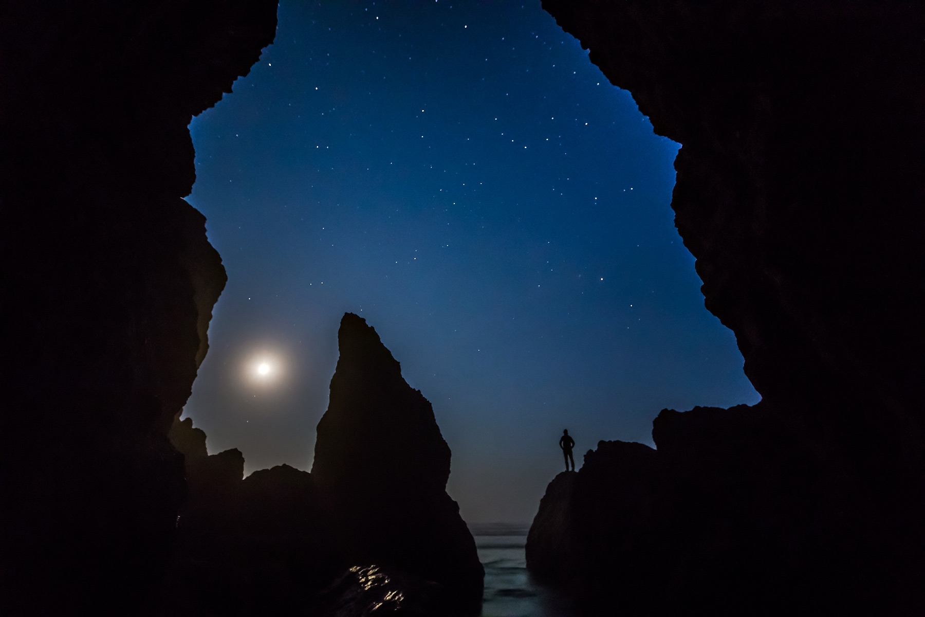 Ruby Beach man silhouetted against a night sky.