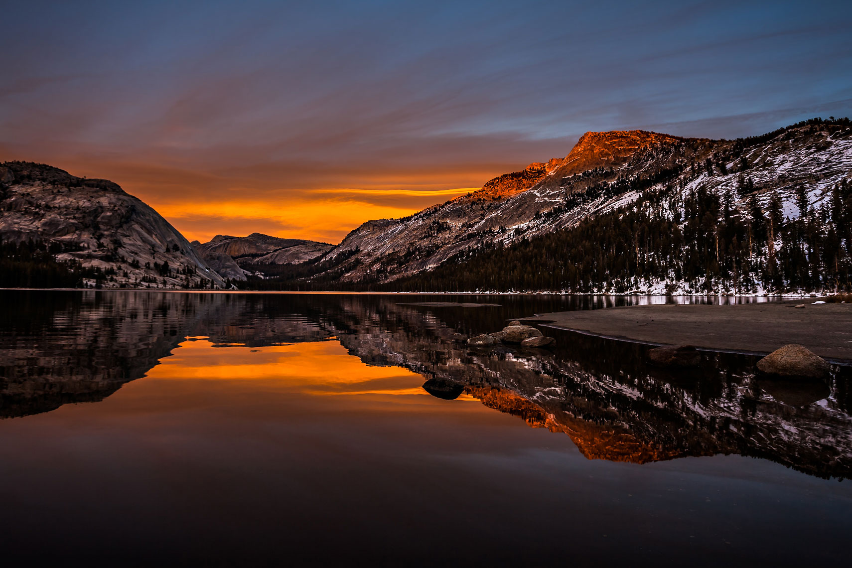 Tenaya Lake Alpenglow Reflection