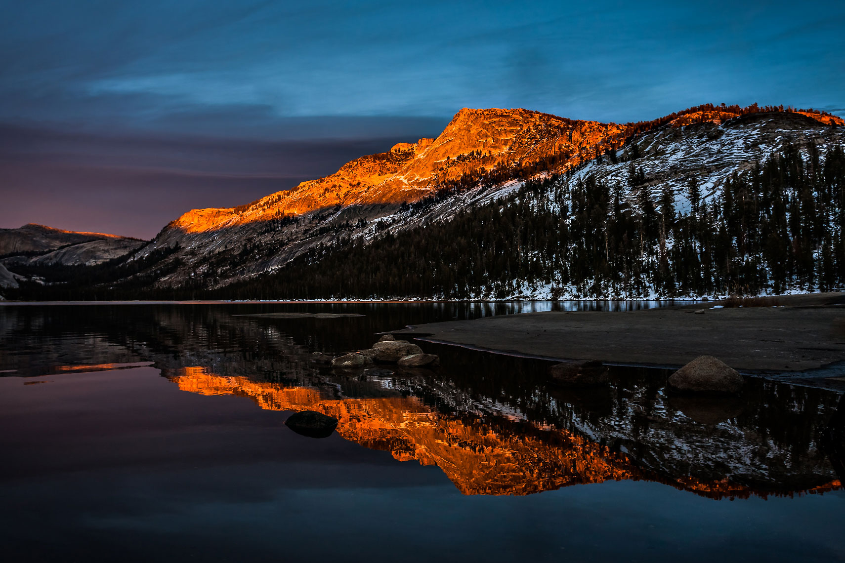Tenaya Peak Alpenglow Reflection
