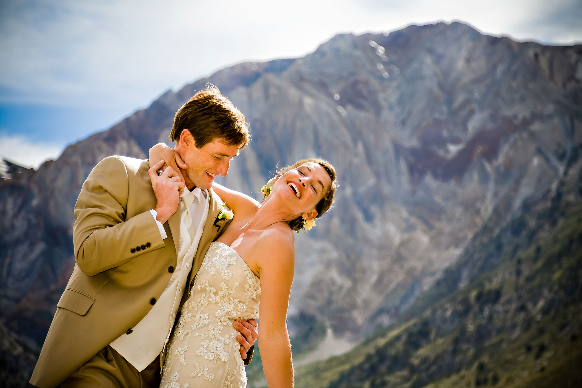 Convict Lake resort wedding couple photographer.