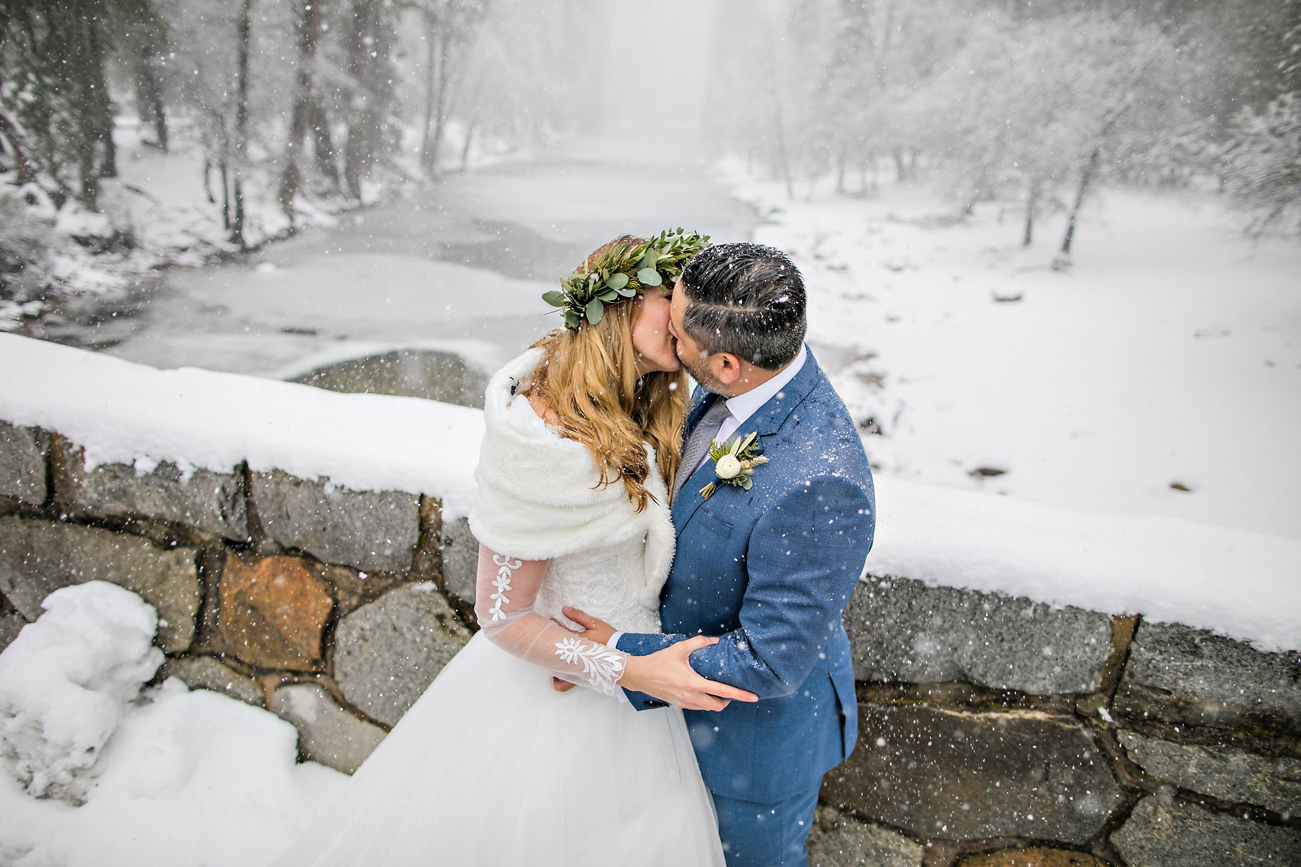 Winter elopement photography in Yosemite.