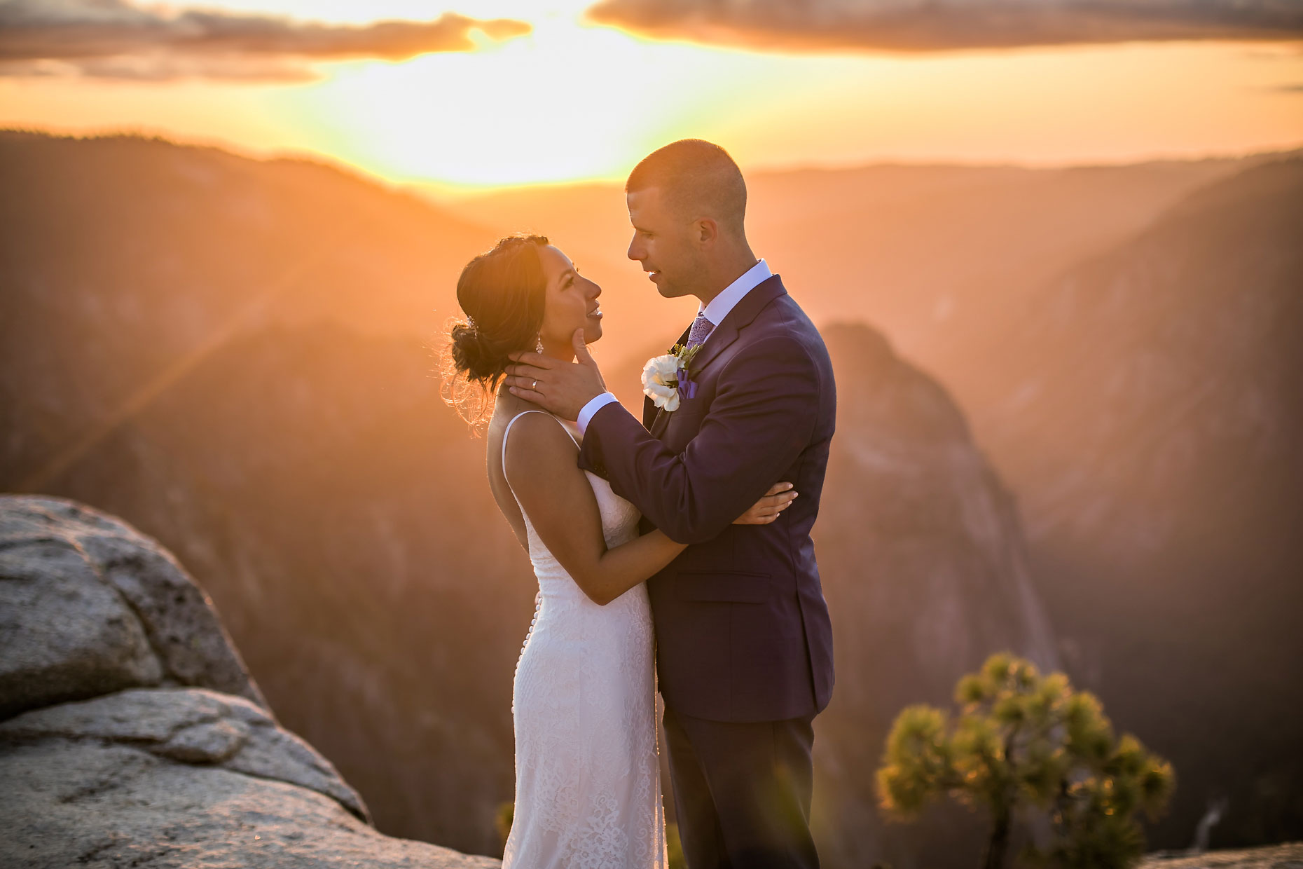Adventure elopement photographer at Taft Point in Yosemite.