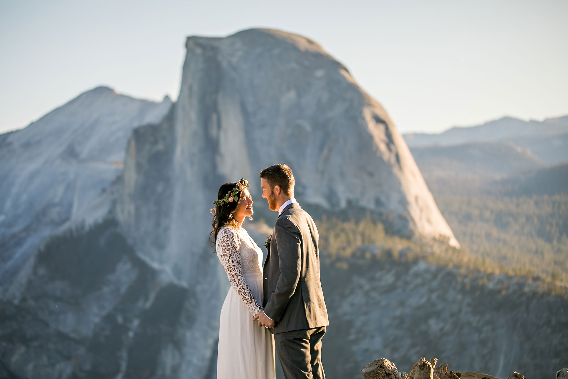 Wedding couple at Glacier Point in Yosemite.
