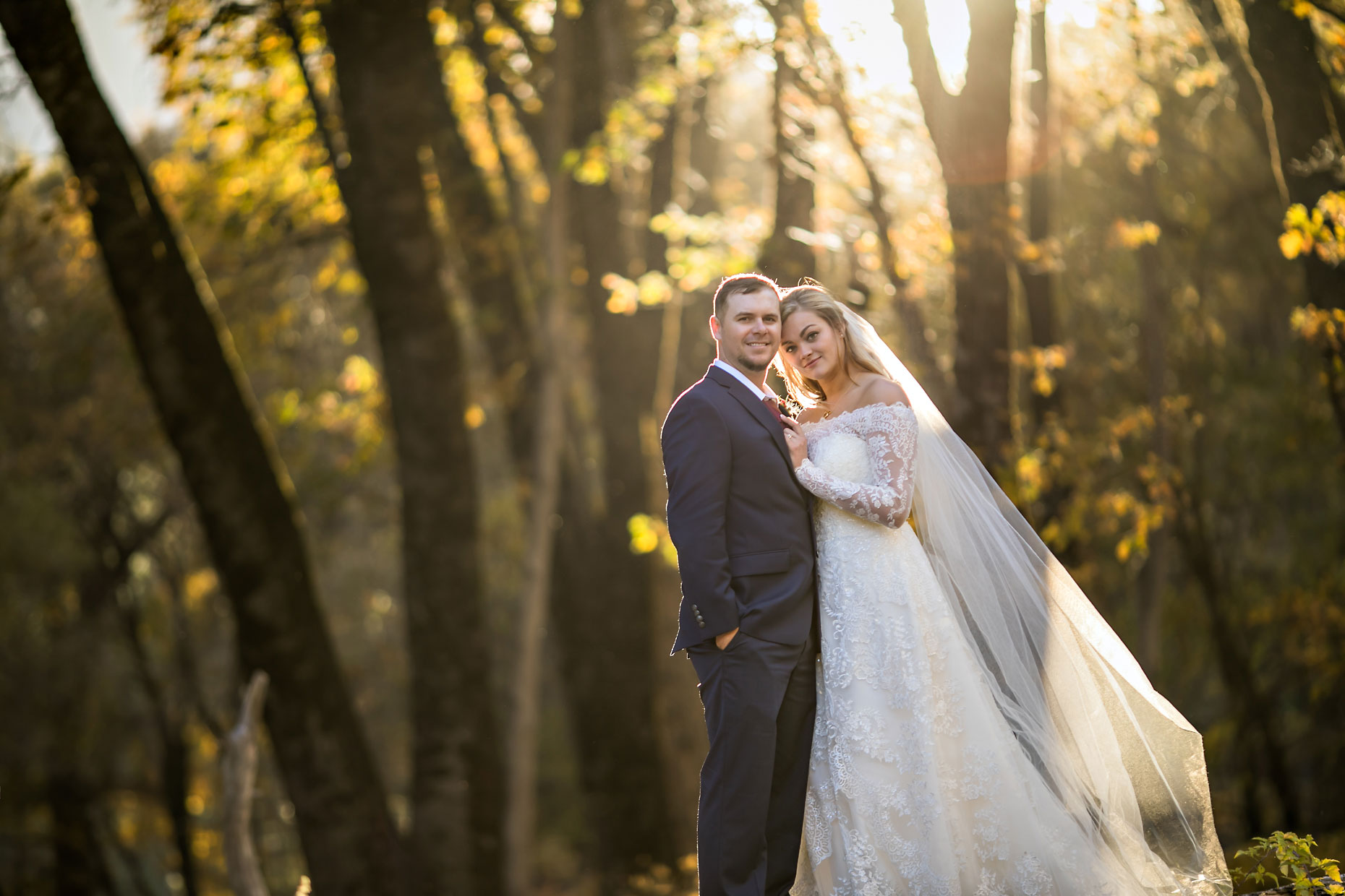 Wedding photography with fall colors in Yosemite.