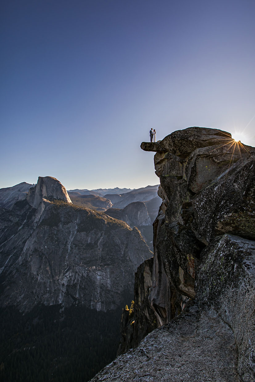 Glacier Point wedding photographer at sunrise in Yosemite.
