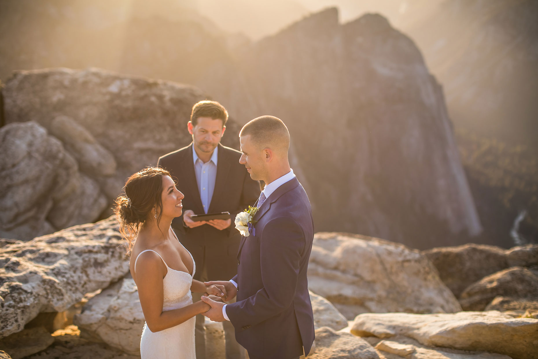 Adventure elopement at Taft Point in Yosemite.
