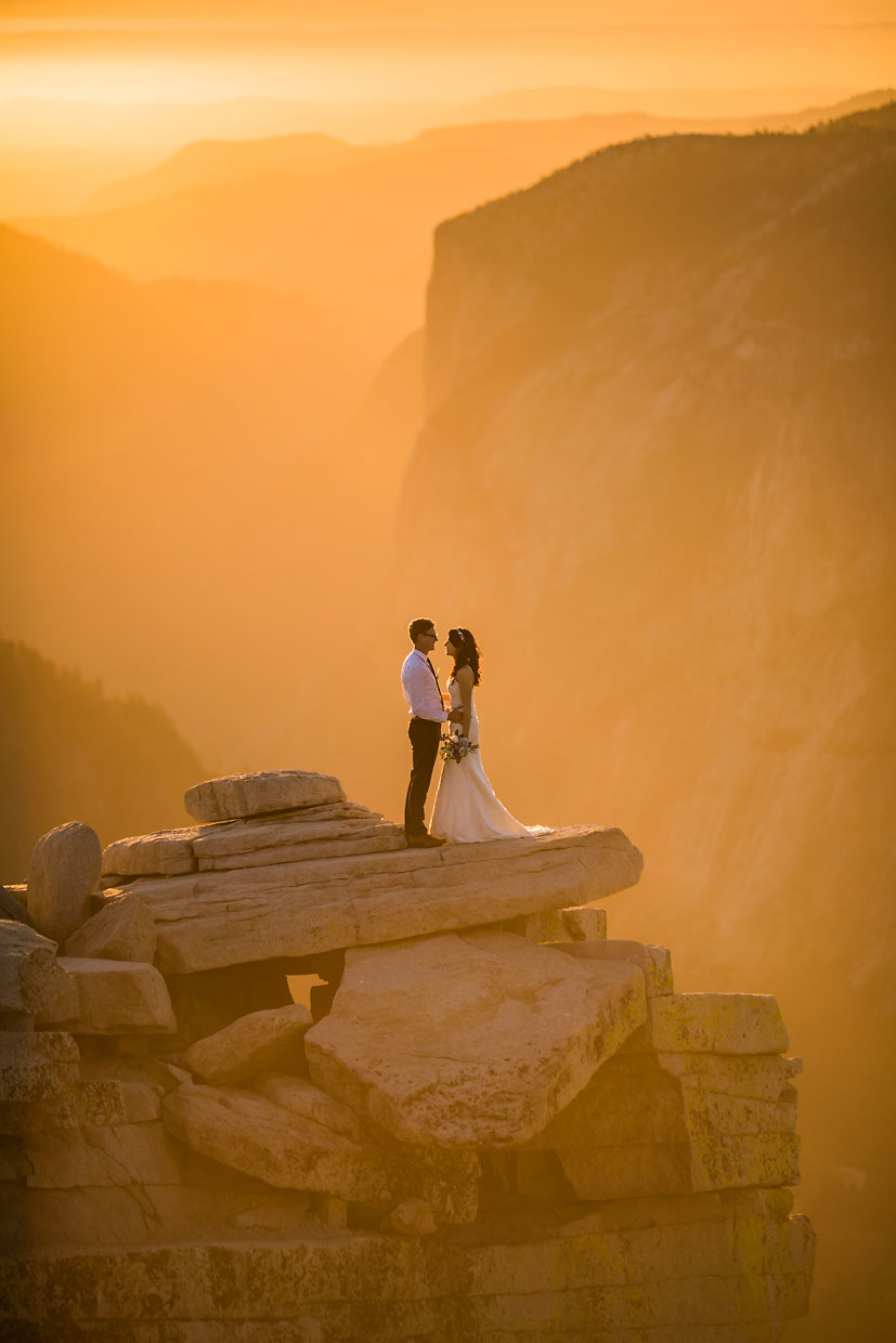 Wedding photography on Half Dome at sunset in Yosemite.