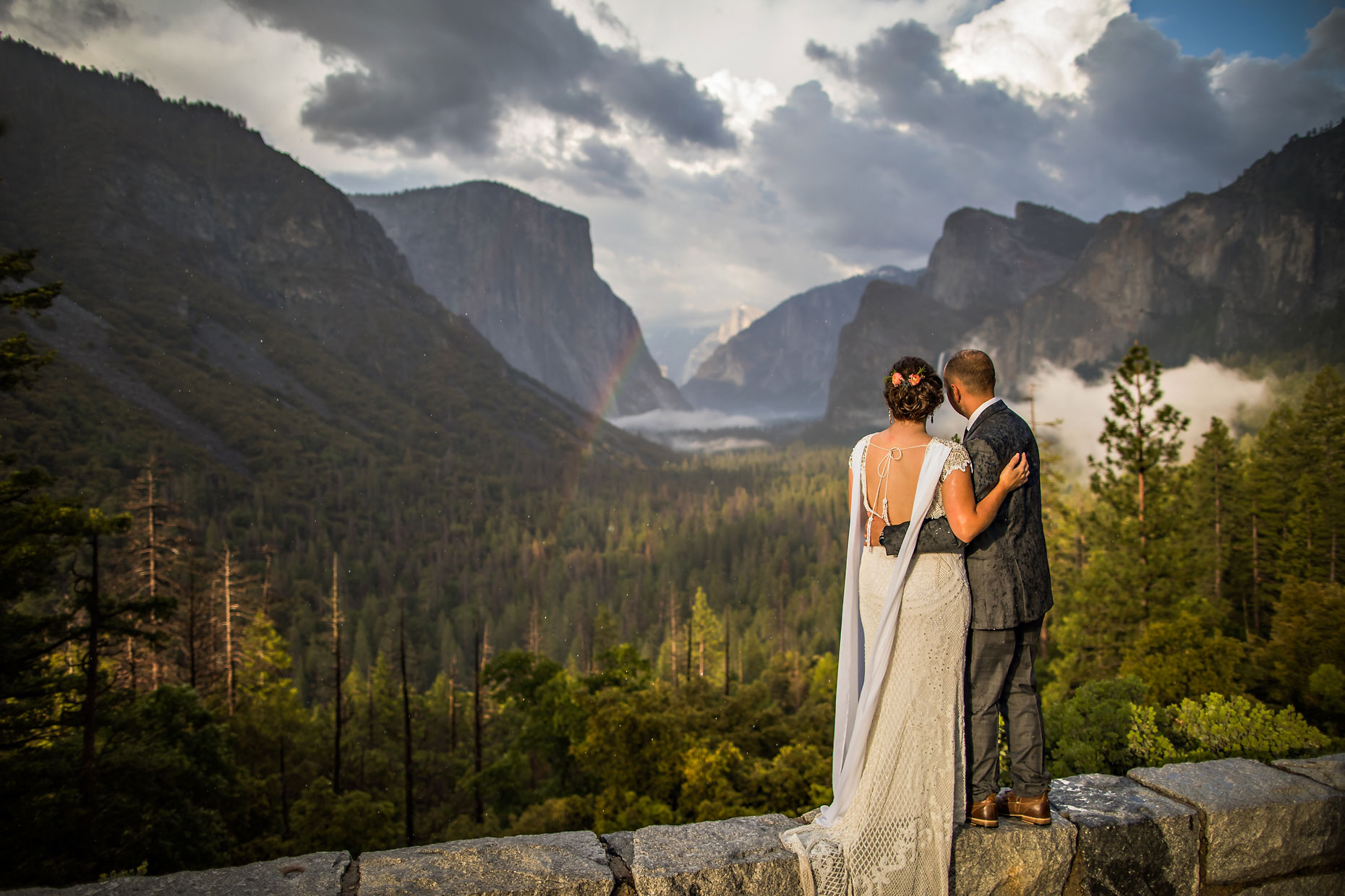 Wedding portrait at Tunnel View with rainbow.