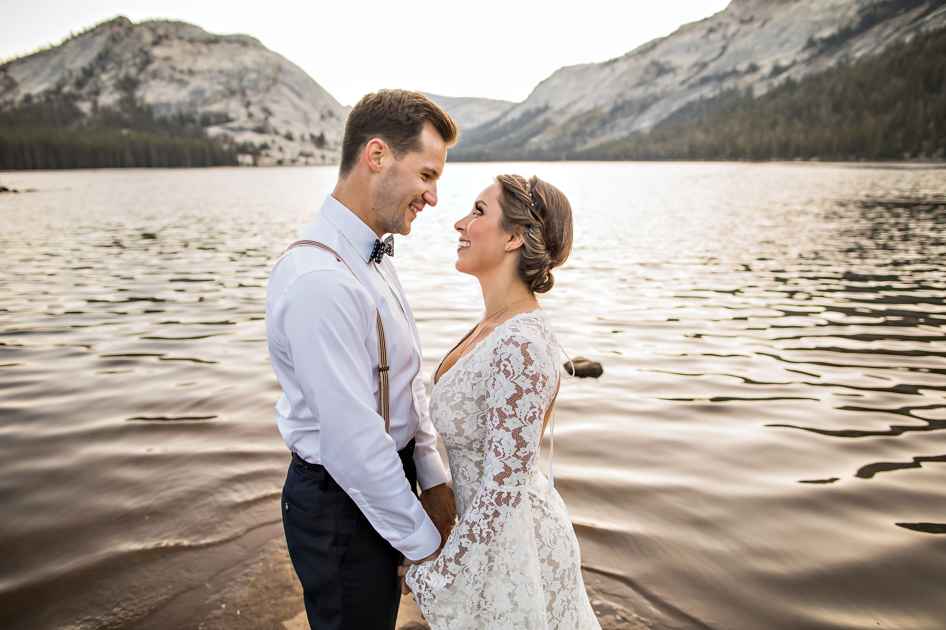 Tenaya Lake sunrise elopement in Tuolumne Yosemite.