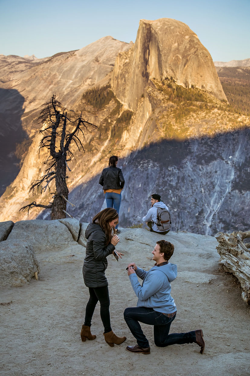 Glacier Point proposal photography in Yosemite.